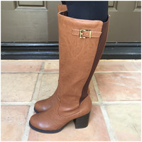 Mart Two-Tone Knee-High Heel Boots -COGNAC