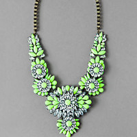 OAK LAWN JEWELED STATEMENT NECKLACE IN NEON YELLOW
