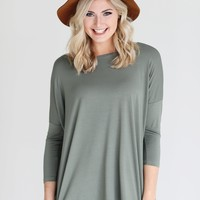 Light Olive PIKO 3/4 Sleeve Top