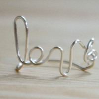 Personalized ring, custom name, personalized message silver ring, wire wrapped ring