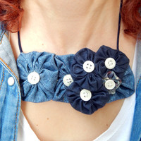 Statement Bib Necklace with Denim Fabric Flowers - Rosette Fabric Necklace - Women's Statement Collar Necklace - Summer fabric jewelry
