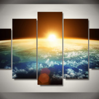 5 Pieces Multi Panel Modern Home Decor Framed Sunrise Wall Canvas Art