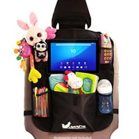 Car Backseat Organizer With Tablet Holder by Quality Tech. Babies and Kids Toy Storage Accessories Black