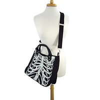 Gothic Emo Ribcage Skeleton Glow in the Dark Shoulder Bag