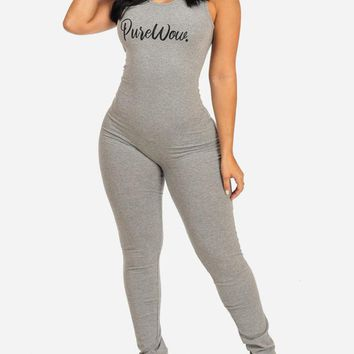 Pure Wow Graphic Grey Jumpsuit