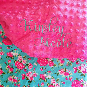 Embroidered Floral Minky Blanket, Custom Baby Blanket, Monogrammed Baby Blanket, Baby Shower Gift