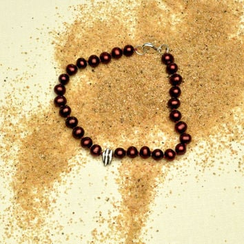 Hand Knotted Cranberry Pearl Bracelet