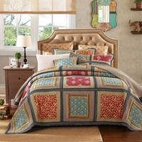 Dada Bedding Gallery of Roses Floral Bohemian Cotton Patchwork Bedspread Set (JHW-546)