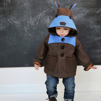 Boys Teddy Bear Coat in Blue