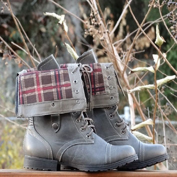Fold Over Plaid Boots