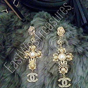 CREY3DS EWT Royal Crown ANTHROPOLOGIE BAROQUE Zara style gold and pearl accented Large Cross drop dangle Statement Earrings/large Cross dangle earrings
