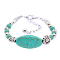 Turquoise Oval Floral an dPearl Beaded  Bracelet