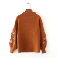 Watialady New Autumn Winter Women 2017 European Floral Embroidery Knit Sweater Lady Fashion Flat Knitted Pullovers