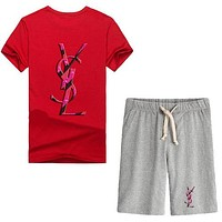 Trendsetter YSL Women Men Casual Sport T-Shirt Top Tee Shorts Set Two-Piece
