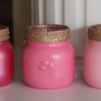 Painted Mason Jars, Pink and Gold Decor, Pink and Gold Christmas,Ombre Mason Jars,Bathroom Decor, Baby Shower, Bathroom Storage, Girl's room