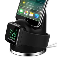 DCK4S2 OLEBR Apple Watch Series 3 Stand iPhone X/8/8Plus/7/7Plus/6s/6s Plus Dock, [2 in 1 Charging Dock]Apple Watch Charging Stand, Charger Station for iWatch Series 3/2/1/Nike+,iPhone 5/SE-Black