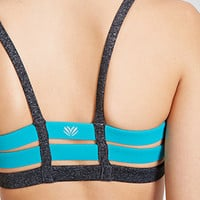 Heathered Cage-Back Sports Bra