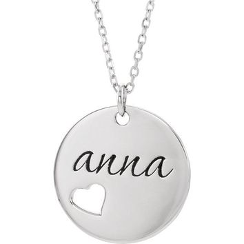 "Personalized Pierced Heart Cut Out Engravable Disc 16-18"" Necklace"