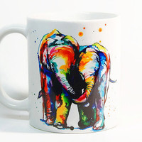 Elephant coffee mug, Elephants mug Watercolor Mug, Coffee Cup, Tea Cup, Gift for her, Gift for him, Printed mug, Ceramic mug