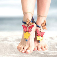Barefoot sandals, barefoot beaded beach jewelry sandals, leather flower butterfly barefoot sandals, boho anklet hippie sandals, foot jewelry
