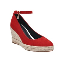 Pointed Toe Platform Wedges Ankle Straps Buckle Women Shoes