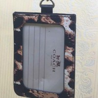 COACH leopard - skin waterproof work badge hanging rope bus card with cute documents