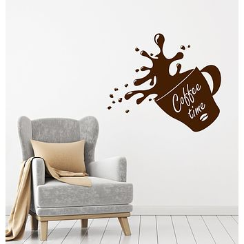 Vinyl Wall Decal Cup Of Coffee House Bean Coffee Time Shop Stickers (4084ig)