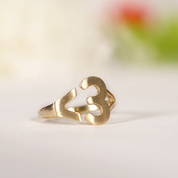 Unique I heart U  ring adjustable ring. CHOOSE by DoubleBJewelry