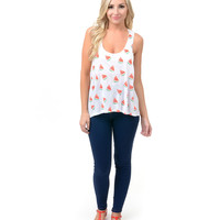 White & Pink Watermelon Jersey Racerback Tank Top