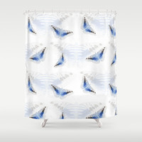 Butterfly shower curtain, blue and white nature pattern, designer bathroom art decor, surface pattern design