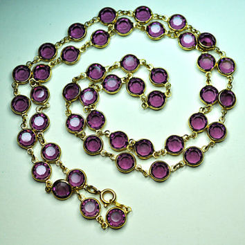 """AUSTRIAN CRYSTAL BEZEL Vintage Gold and Purple Crystal Bezel Long 29"""" Necklace, 8mm Crystals, Pretty in Purple! #a792"""