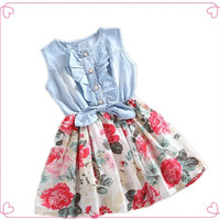 2015 Summer New Fashion  Lovely Kid Girls Jean Denim Bow Flower Ruffled Dress Sundress Children Clothing Costume = 1929976644