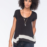 Honey Punch Lace Inset Sharkbite Womens Tee Black  In Sizes