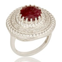 925 Sterling Silver Dyed Ruby And White Topaz Gemstone Cocktail Ring
