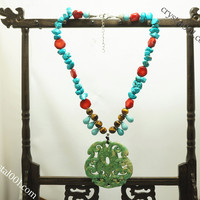 Natural carved green jade necklace couple drangon necklace, tiger's eye turquoise coral necklace, power necklace, chakra healing necklace