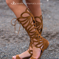 What A Catch Lace Up Gladiator Sandals (Tan)