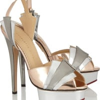 Charlotte Olympia|Decodent metallic leather sandals|NET-A-PORTER.COM