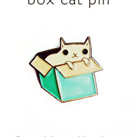 Limited Edition Pastel Box Cat Pin - Enamel Cat pin - cat pin by Susie Ghahremani / boygirlparty