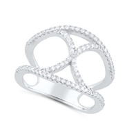 Sterling Silver Cz Infinity X Statement Ring