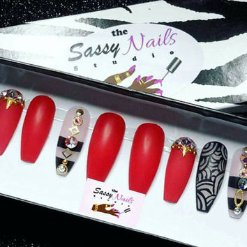 Sassy Glue On Nails: Red Clear And Black Set| Press On Nails| Drag Nails| Stiletto Nails| Coffin Nails| 3d Nails| Faux Nails| Fake Nails