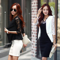Women Lace 1/2 Sleeve Blazer Suit Slim One Button Jacket Coat Top Outerwear new F_F