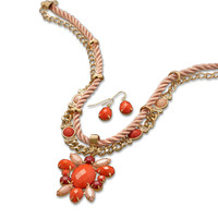 Coral Satin Cord and Acrylic Fashion Necklace and Earring Set