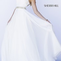 Long Formal Gown with Cap Sleeves by Sherri Hill