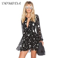 DOMODA 2017 Solid Black Stars Printed Summer Dresses Women V-Neck Sheer Mini Dress Fashion Sexy Party&Club Casual Vestido Female