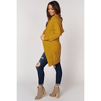 In The Swing Of Things Hooded Cardigan (Mustard)