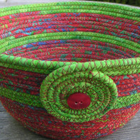 Medium Coiled Fabric Basket, Fabric Bowl, tomato red and avocado green