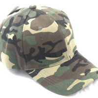 Baseball Cap Hat CAMO CAMOUFLAGE Woodland Army Color Velcro Adjustable Size