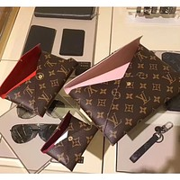 LV Louis Vuitton Hot Sale Ladies Print Letter Three-piece Envelope Cosmetic Bag