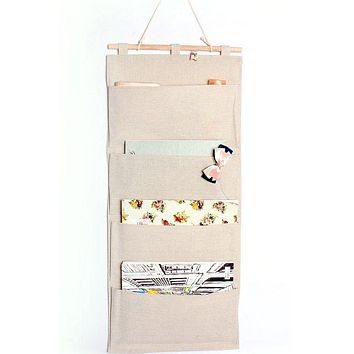 Linen/Cotton Fabric Wall Door Cloth Hanging Storage Pockets Books Organizational Back to School Office Bedroom Kitchen Rectangle Home Organizer Gift (4 Pockets) 4 Pockets