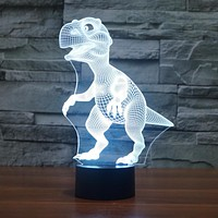 Novelty Touch Switch Desk Light Night Light Colorful USB LED Table acrylic Lamp 3D Illusion Dinosaur For Home Decor IY803330